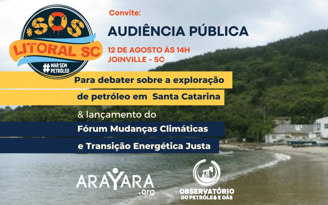 Joinville debate riscos do petróleo no litoral de SC e cria Fórum Permanente de Transição Energética Limpa e Justa