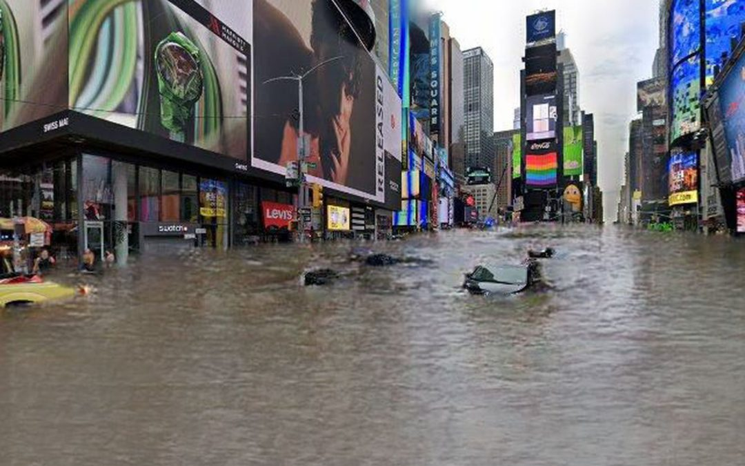 Times Square inundada e avenida Paulista em chamas, assim a crise climática afetará a sua rua